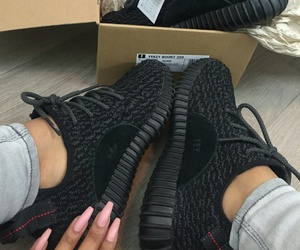 shoes, black, and yeezy image