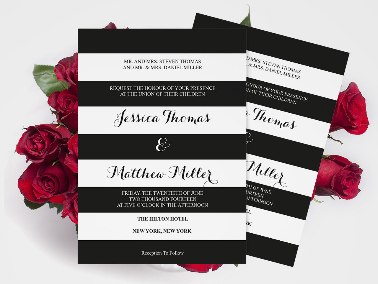 Wedding Invitation Template Black White Striped