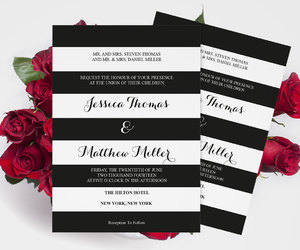 etsy, wedding invitation, and black white stripes image