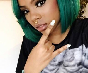 colored hair, green, and weave image