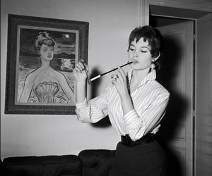 black and white, vintage, and cigarette image