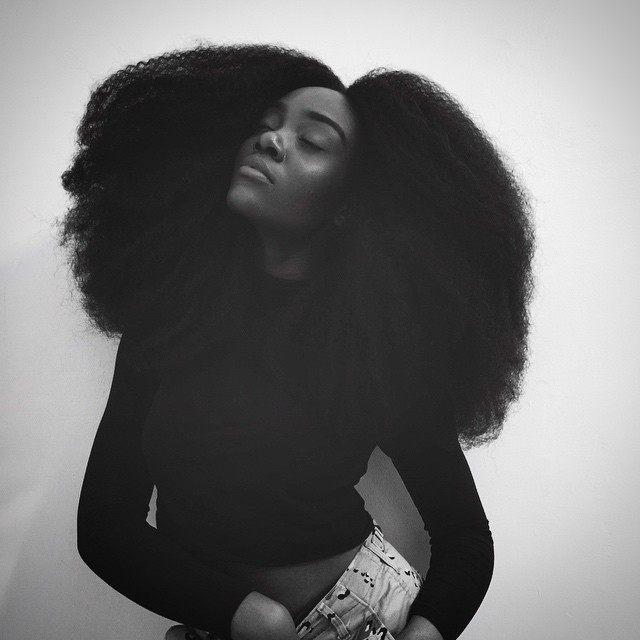 Afro, black woman, and casual image
