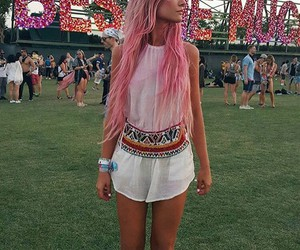 coachella, hair, and pink image