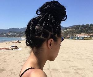 beach, braids, and hair image