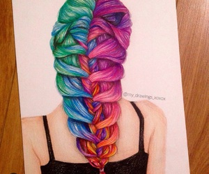 art, colorful, and hair image