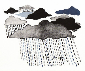rain, clouds, and drawing image