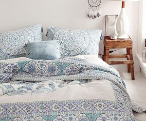 bedroom, blue, and boho image