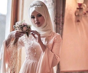 bride, gown, and hijab image