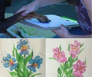 art, flowers, and dog image