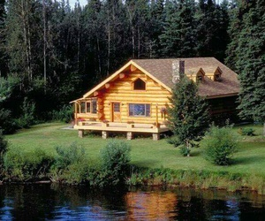 cabin, country, and lake image