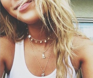 necklace, hair, and summer image