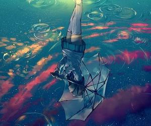 rain, anime, and art image