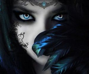 eyes, blue, and dark image