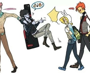 adventure time, marshall lee, and finn the human image