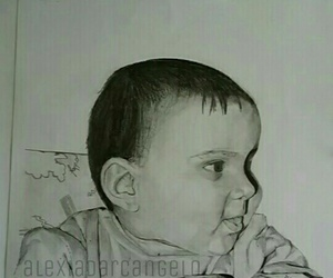 baby, blackandwhite, and draw image