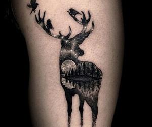 deer, tattoo, and black image