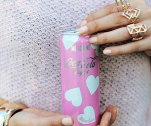 coca cola, pink, and rings image