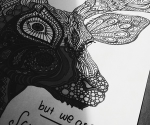 black and white, deer, and drawing image