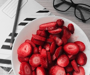 strawberry, fruit, and glasses image