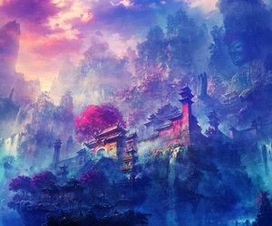Temple, anime, and blue image