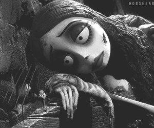 corpse bride, black and white, and tim burton image