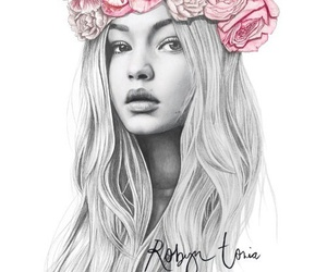 art, drawing, and gigi hadid image