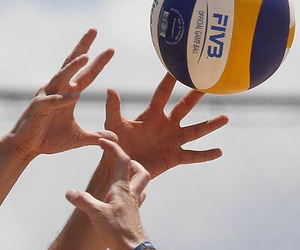 ball, beach, and volleyball image