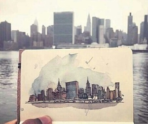art, drawing, and buildings image