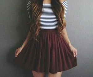brunette, hair, and skirt image