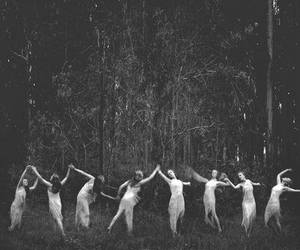 dance, black and white, and witch image