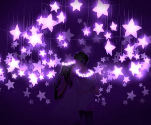 beautiful, purple, and stars image