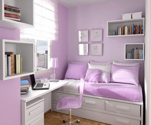purple, room, and bedroom image