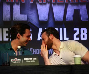 chris evans, civil war, and sebastian stan image