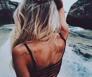 blond, fashion, and waves image