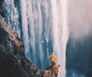nature, adventure, and waterfall image