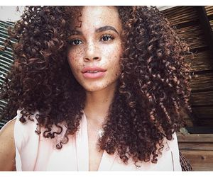 brown hair, curly hair, and freckles image