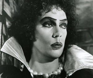 Tim Curry, black and white, and rocky horror image
