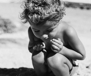 black and white, boy, and beach image