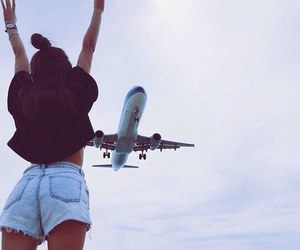 girl, plane, and sky image