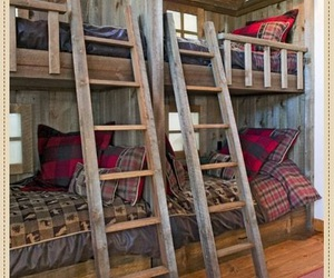 bed, cabin, and decor image