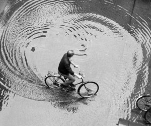 bike, black and white, and water image