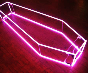 coffin, neon, and pink image