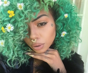 green hair, flowers, and hair image