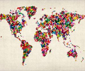 butterflies, travel, and world map image