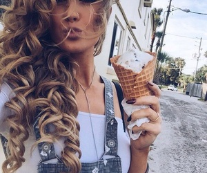 girl, hair, and ice cream image