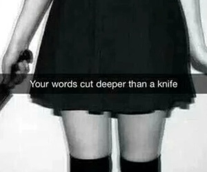 stitches, knife, and words image