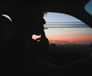 boy, sunset, and cigarette image