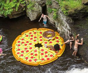 pizza, fun, and summer image