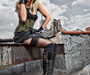 blonde, boots, and corset image