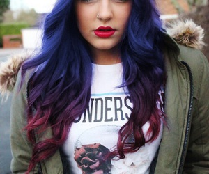 hair, blue, and red image
